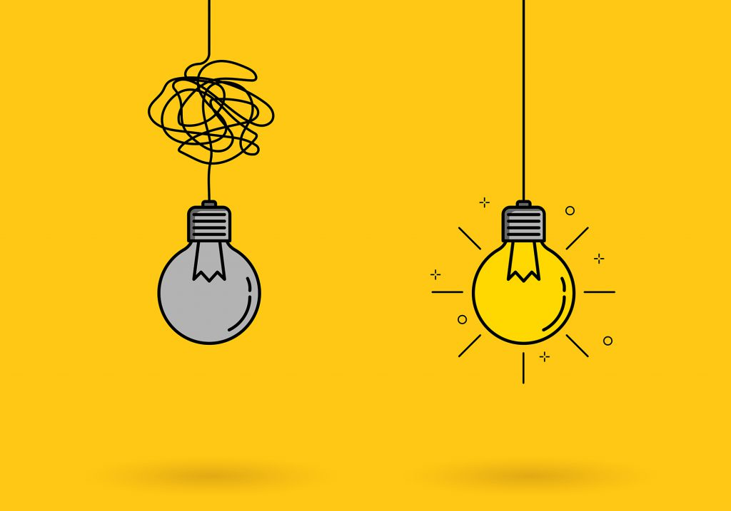 Creative idea thinking outstanding, inspiration, brainstorm, innovation, solution and imagination development. Light bulb with lighting shine icon sign meaning solve the problem. Vector illustration